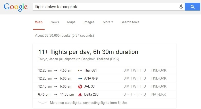 which flight is going to Bangkok
