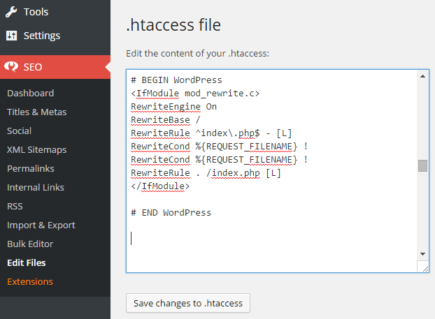 Edit WordPress htaccess file using Yoast SEO Plugin