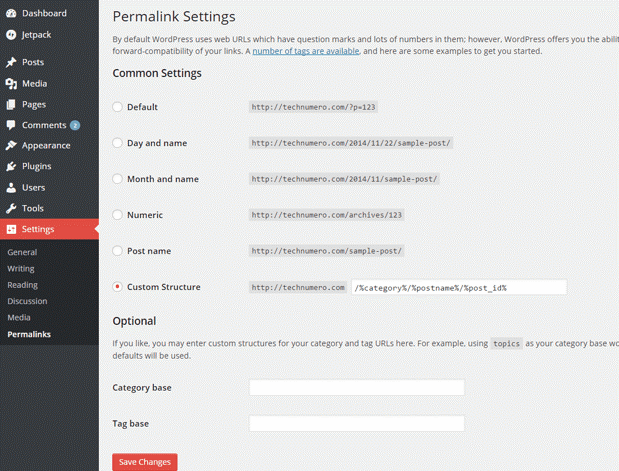 Edit Settings for Best WordPress Permalink Structure for SEO