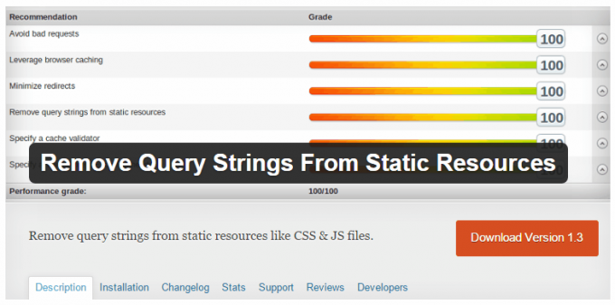 Remove Query Strings from Static Resources Plugin