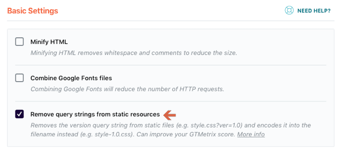 Remove query strings from static resources with WP Rocket Plugin
