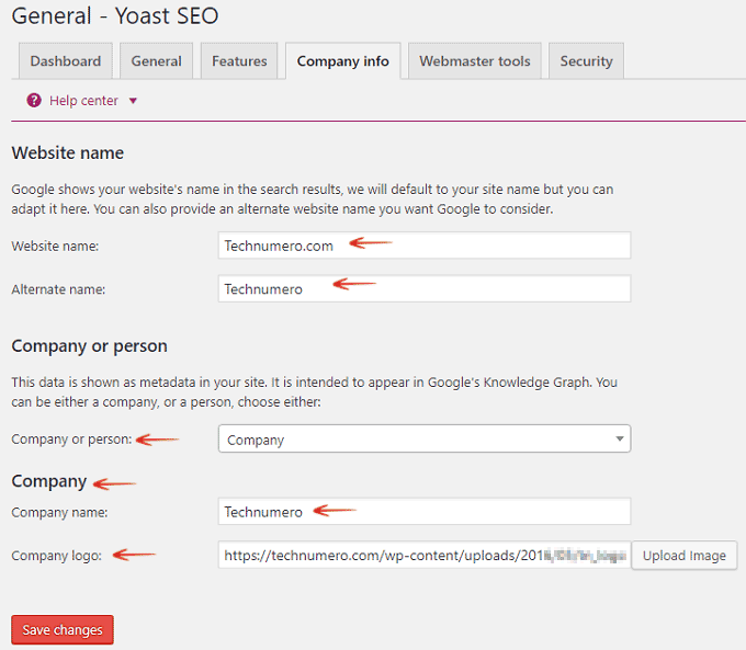 Company Info - Website Name - Yoast SEO