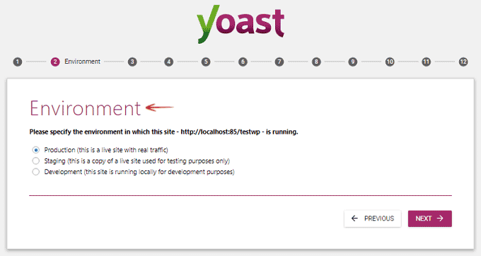 Environment - Configuration Wizard - Yoast SEO