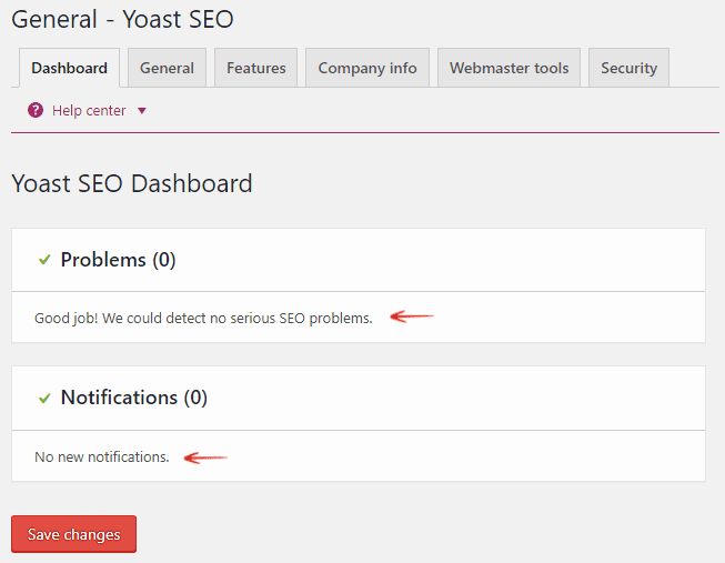 Dashboard - General - Yoast SEO