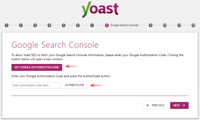 Google Search Console setup - Configuration Wizard - Yoast SEO