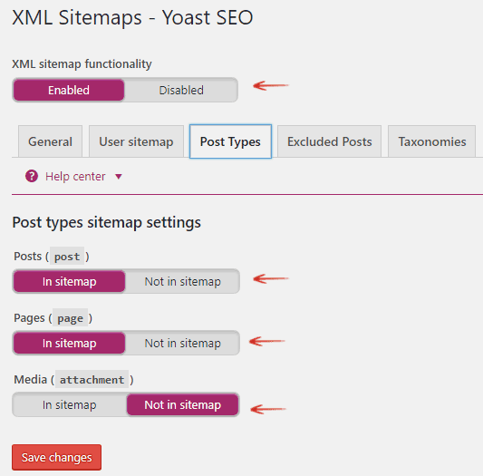 Post Types sitemap settings - Yoast SEO