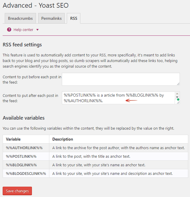 RSS Feed Settings - Yoast WordPress SEO plugin