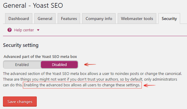 Security - Advanced Part of Yoast SEO Meta Box