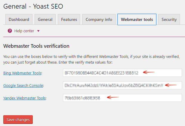 Webmaster Tools Verification Yoast SEO
