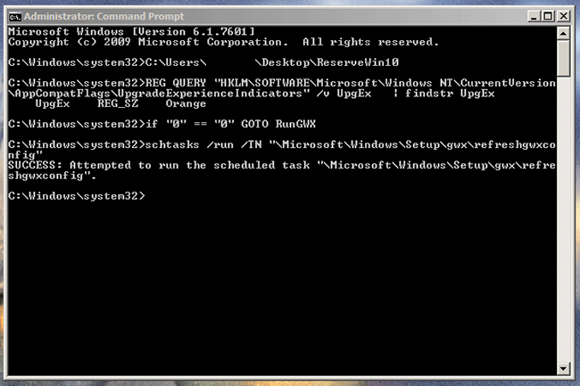 command prompt after running reservewin10cmd