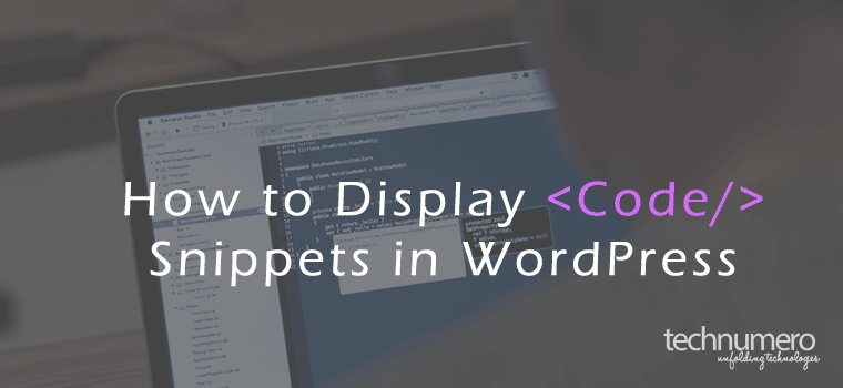 How to Display Code Snippets in WordPress -Technumero