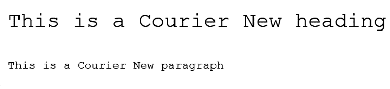 Courier New Web Safe Font Visual