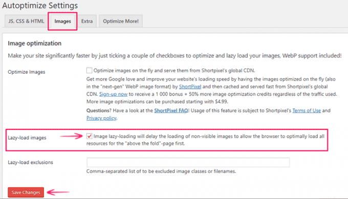 Defer Offscreen Images in WordPress using Autoptimize plugin