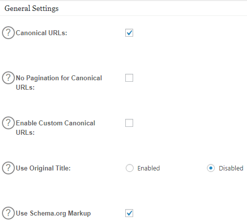 All in One SEO Pack Home General Settings