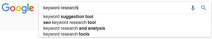 'Keyword Research' in Google Search