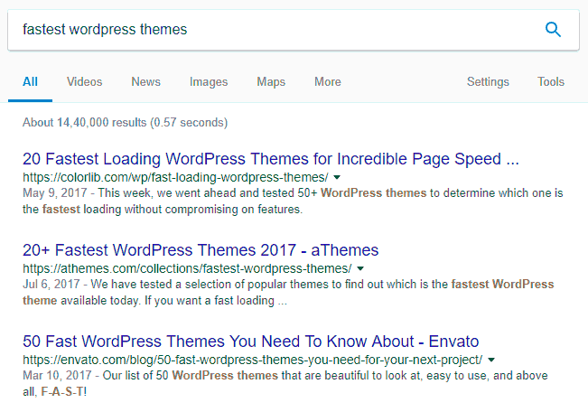 Google Search Result Page for Fastest WordPress Themes Keyword