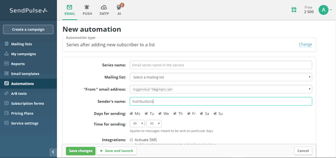 Start a New Email Automation