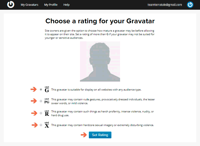Choose a rating to Setup your Avatar in Gravatar