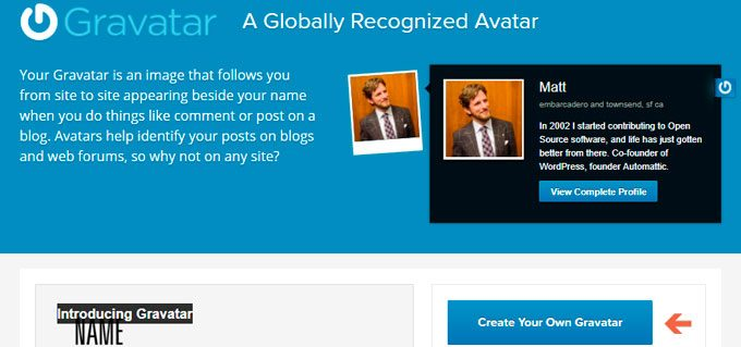 Gravatar Account Sign up page to create Gravatar Account