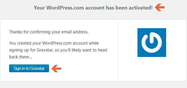 WordPress.com Account Activation page