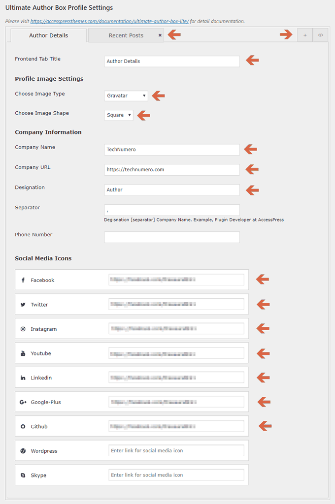 Ultimate Author Box Lite Plugin options on profile page