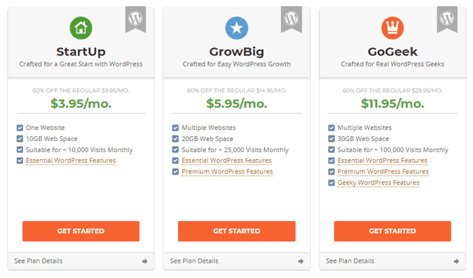 SiteGround Shared Hosting Plans & Pricing
