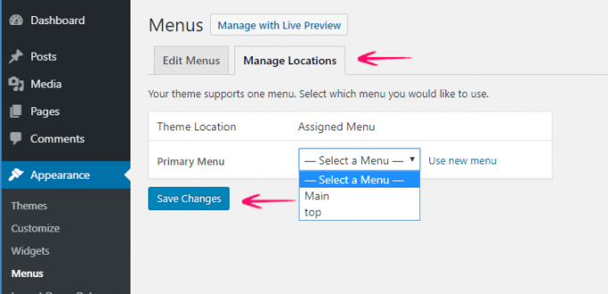 Change/manage Menu Locations in WordPress