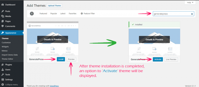 Install and Activate WordPress Theme