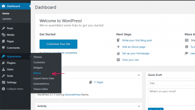 WordPress Dashboard > Appearance > Menus