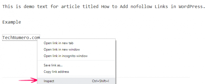 Checking Nofollow Link in Chrome Inspect Element Feature