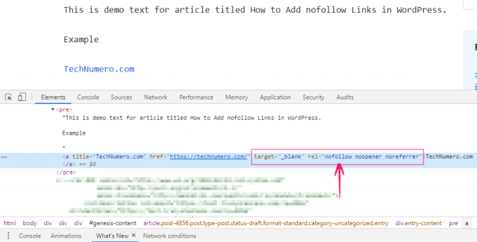 Nofollow Link in Chrome Inspect Element