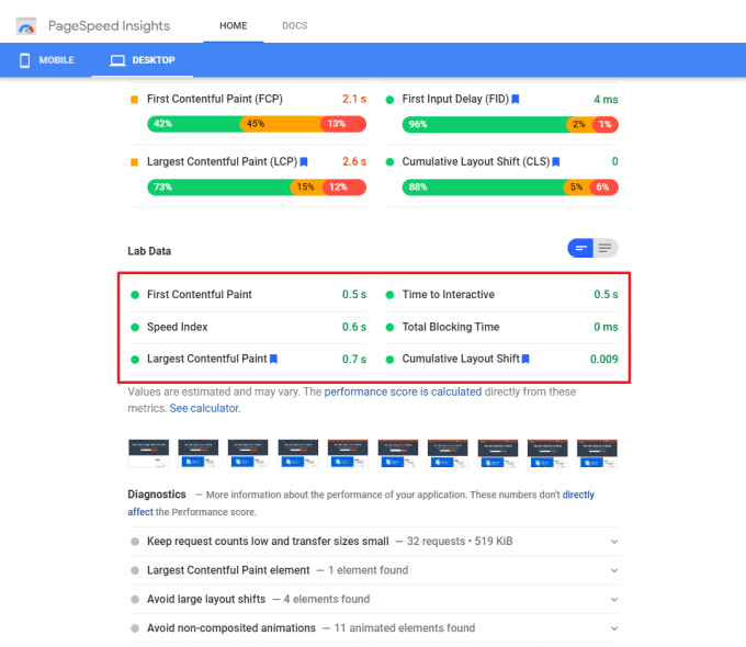 Core Web Vitals Report by Google PageSpeed Insights Tool