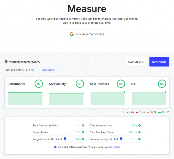 Measure by Web.dev - Website Speed Testing and SEO Audit Tool
