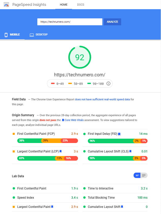 WP Rocket ON - Google PageSpeed Results (Mobile) of technumero.com