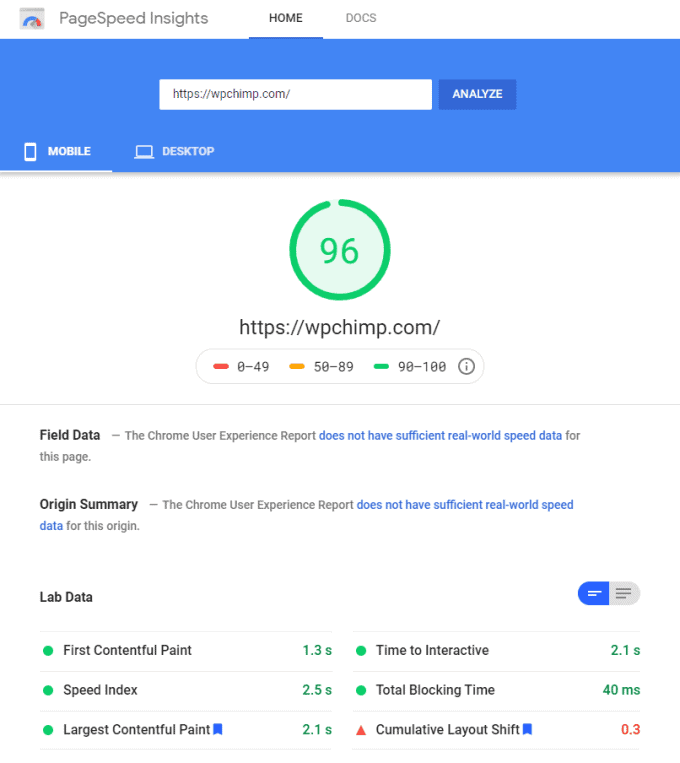 WP Rocket ON - Google PageSpeed Results (Mobile) of wpchimp.com