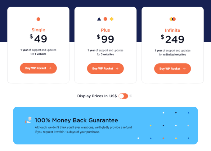 WP Rocket Plans and Pricing