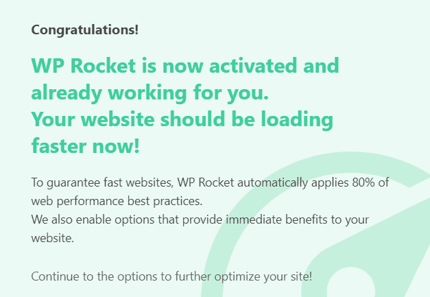 WP Rocket Installed and Activated