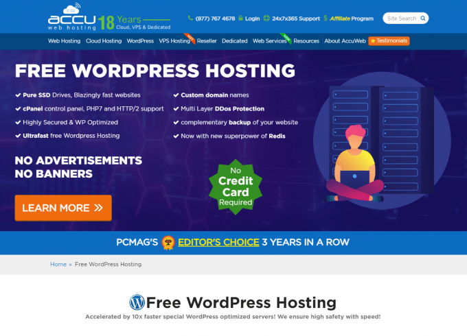 AccuWeb Hosting Free WordPress Hosting for Lifetime - 30 Days trial