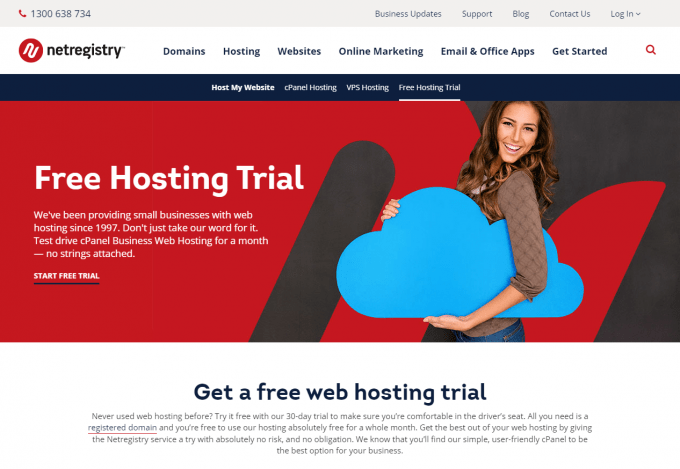 Netregistry Free Hosting - 30 days trial